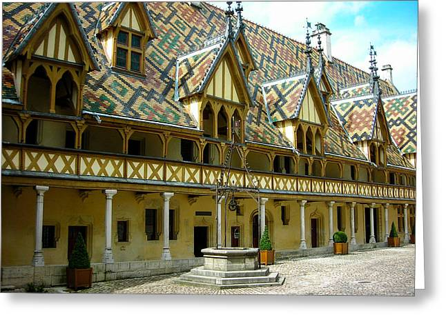 Geobob Greeting Cards - Ornate Ceramic Tile Roofs of the Hospice in Beaune Soane et Loire Burgundy France Greeting Card by Robert Ford