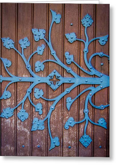 Ornate Church Door Hinge Greeting Card by Mr Doomits