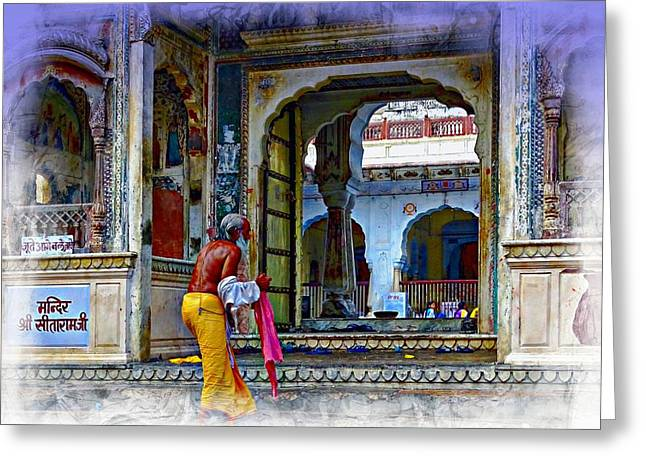 Gathering Greeting Cards - Ornate Colorful Temple Priest Rajasthan India Greeting Card by Sue Jacobi