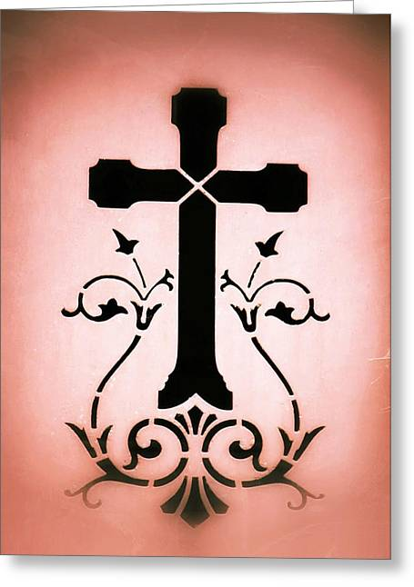 Ornate Frame Greeting Cards - Ornate Cross Stencil Greeting Card by Tony Grider