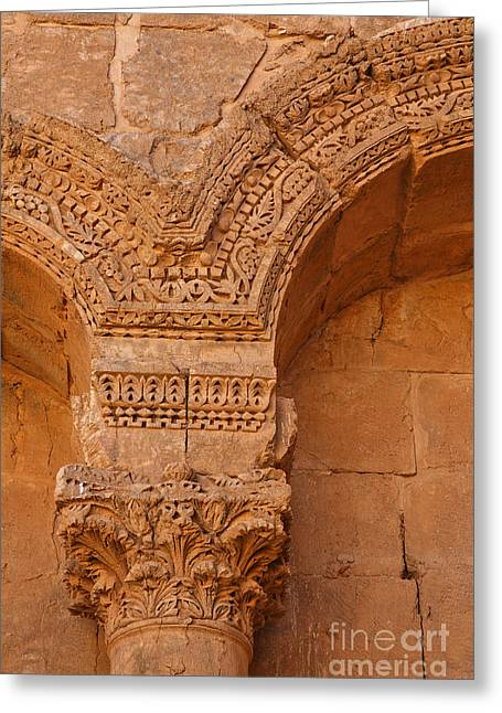 Levant Greeting Cards - Ornate details of sculpted pillars at Rasafa Syria Greeting Card by Robert Preston
