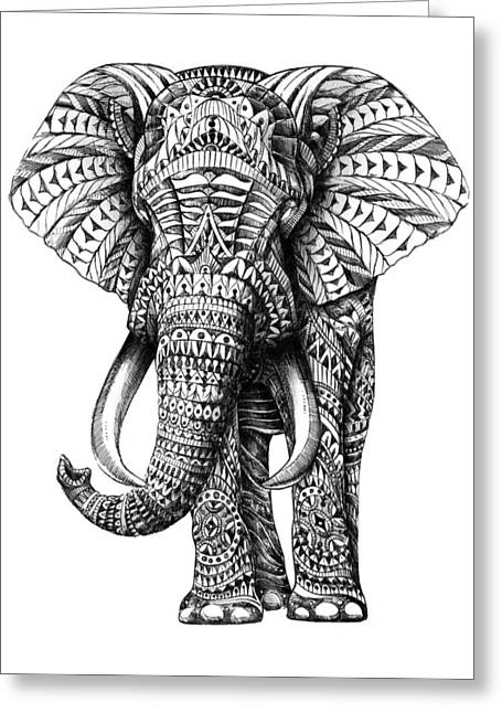 Drawn Greeting Cards - Ornate Elephant Greeting Card by BioWorkZ