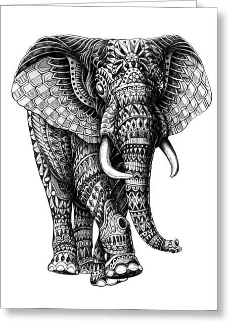 African American Drawings Greeting Cards - Ornate Elephant v.2 Greeting Card by BioWorkZ