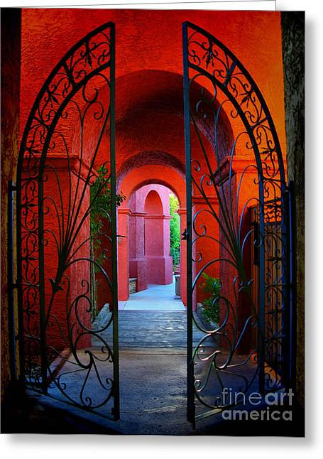 Filigree Greeting Cards - Ornate Gate to Red Archway Greeting Card by Amy Cicconi