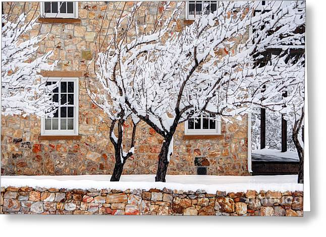 Ornate Historic Stone House In Winter Greeting Card by Gary Whitton