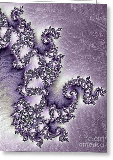 Stream Digital Greeting Cards - Ornate Lavender Fractal Abstract Two Greeting Card by Heidi Smith