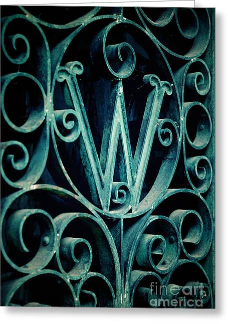 Fancy Greeting Cards - Ornate Letter W in Cemetery Greeting Card by Amy Cicconi