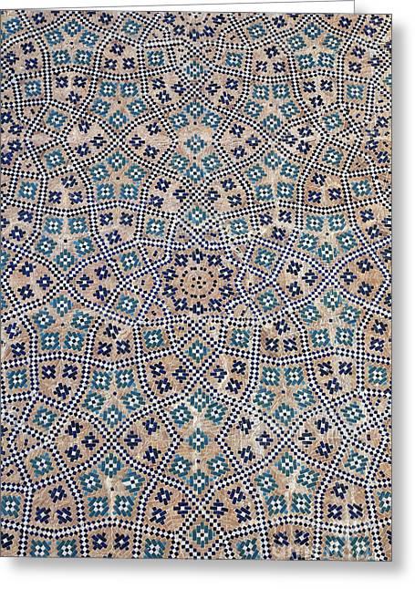 Ornate Majolica At The Abdullah Khan Medressa In Bukhara Uzbekistan Greeting Card by Robert Preston