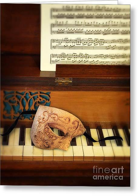 Ornate Mask On Piano Keys Greeting Card by Jill Battaglia
