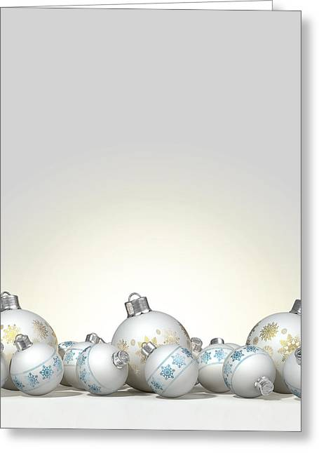 Trimmings Greeting Cards - Ornate Matte White Christmas Baubles Greeting Card by Allan Swart
