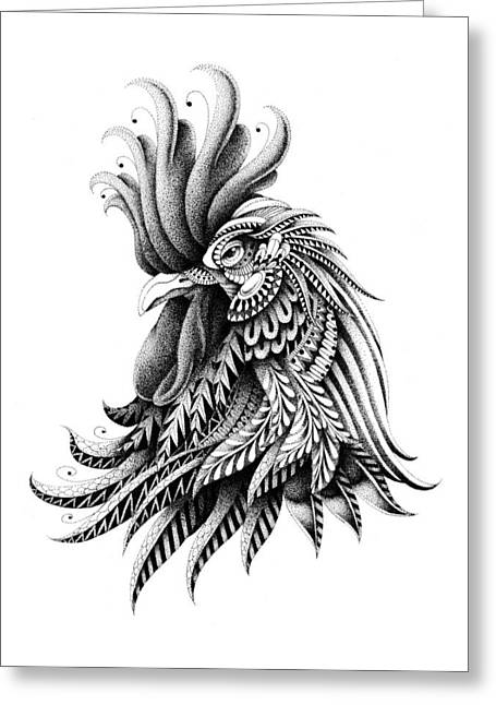 Drawn Greeting Cards - Ornate Rooster Greeting Card by BioWorkZ