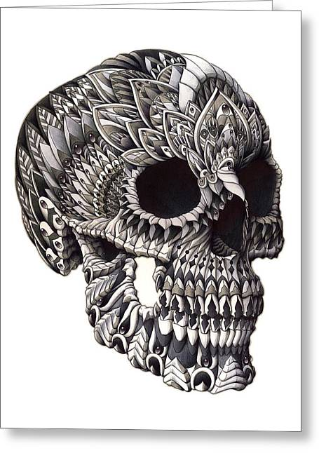 Drawn Greeting Cards - Ornate Skull Greeting Card by BioWorkZ