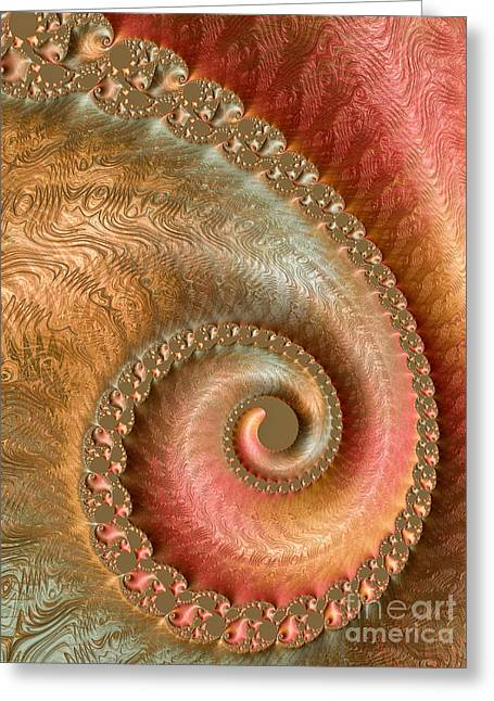 Fractal Galaxies Greeting Cards - Ornate Swirl Greeting Card by Heidi Smith