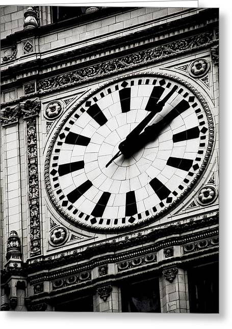 Large Clock Greeting Cards - Ornate Time Greeting Card by April Lee