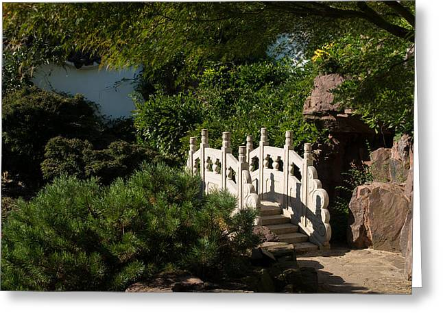 Stepping Stones Greeting Cards - Ornate White Stone Bridge  Greeting Card by Georgia Mizuleva