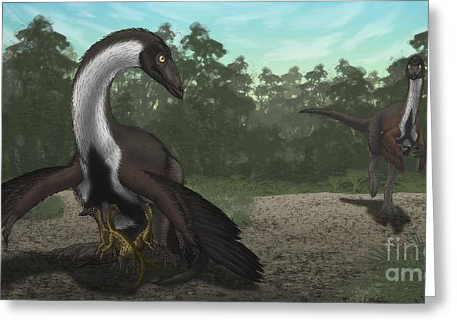 Ostrich Feathers Greeting Cards - Ornithomimus Mother Dinosaur Greeting Card by Vitor Silva