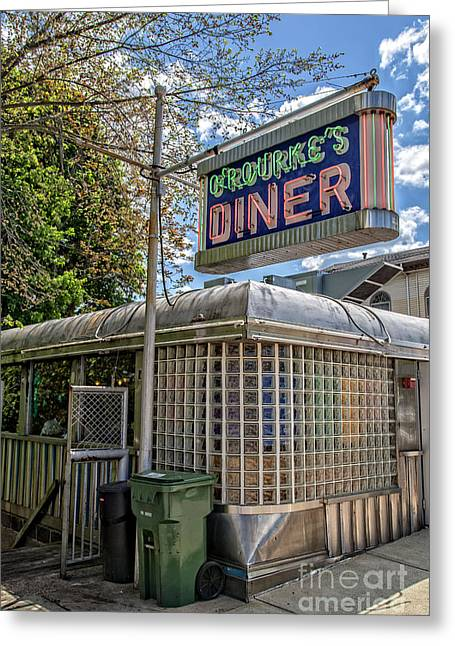 Old Neon Sign Greeting Cards - ORourkes Diner Middletown Connecticut Greeting Card by Edward Fielding