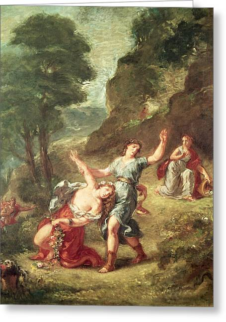 Greek Myths Greeting Cards - Orpheus And Eurydice, Spring From A Series Of The Four Seasons, 1862 Oil On Canvas Greeting Card by Ferdinand Victor Eugene Delacroix