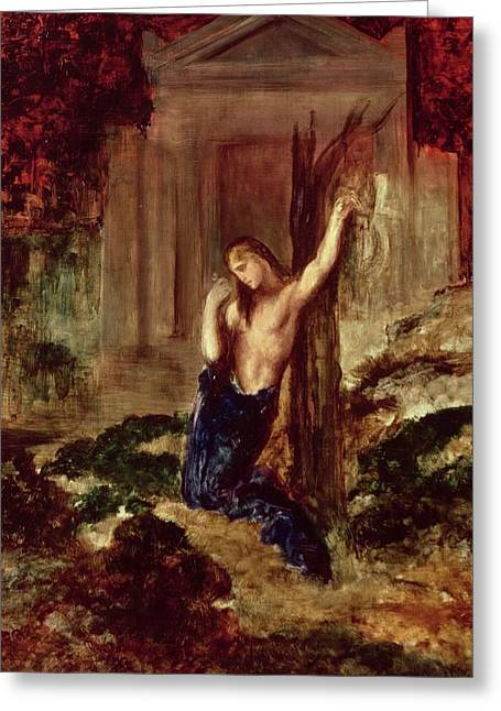 Gustave Moreau Greeting Cards - Orpheus at the Tomb of Eurydice Greeting Card by Gustave Moreau
