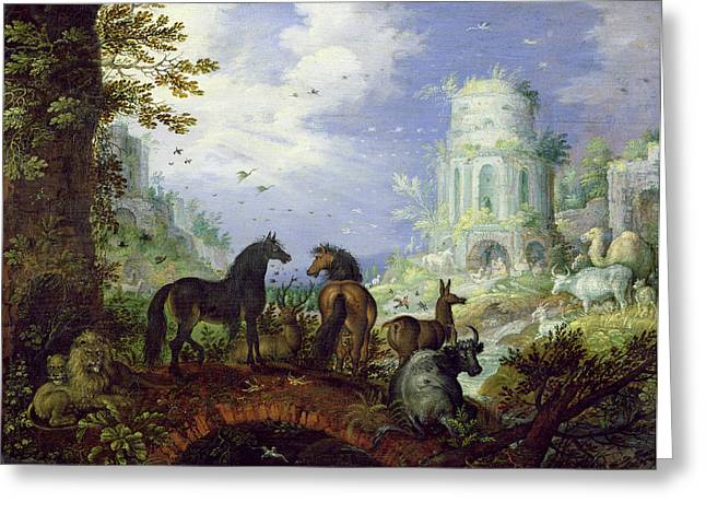 Arcadia Greeting Cards - Orpheus Charming The Animals, 1626 Greeting Card by Roelandt Jacobsz. Savery