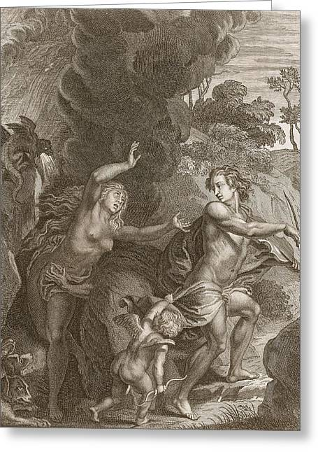 Orpheus, Leading Eurydice Out Of Hell Greeting Card by Bernard Picart