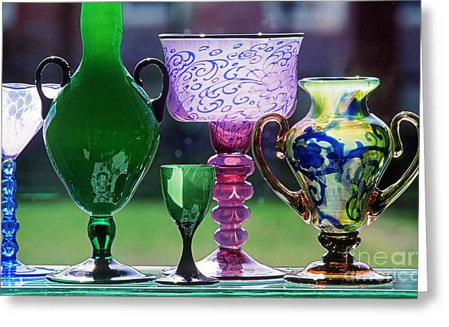 Glass Vase Greeting Cards - Orrefors Colored Glass Greeting Card by James L. Amos