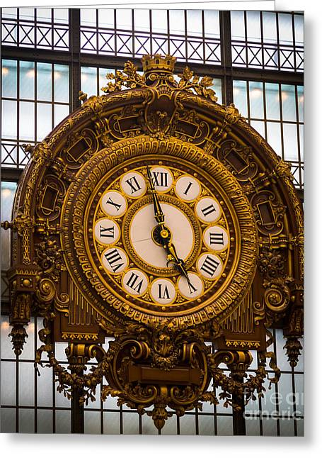 Europa Greeting Cards - Orsay Clock Greeting Card by Inge Johnsson
