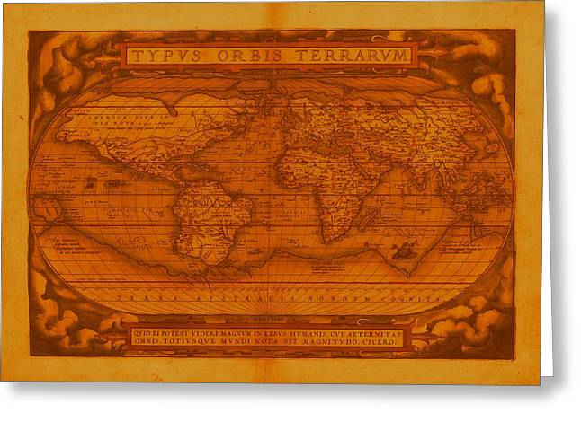 Historic Ship Mixed Media Greeting Cards - Ortelius World Map 1570 AD Faded and Discolored Greeting Card by L Brown