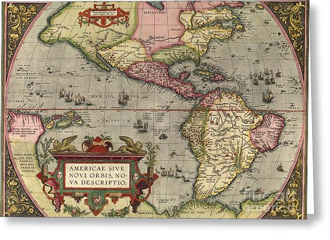 America The Continent Greeting Cards - Orteliuss Map Of The New World, 1603 Greeting Card by Middle Temple Library