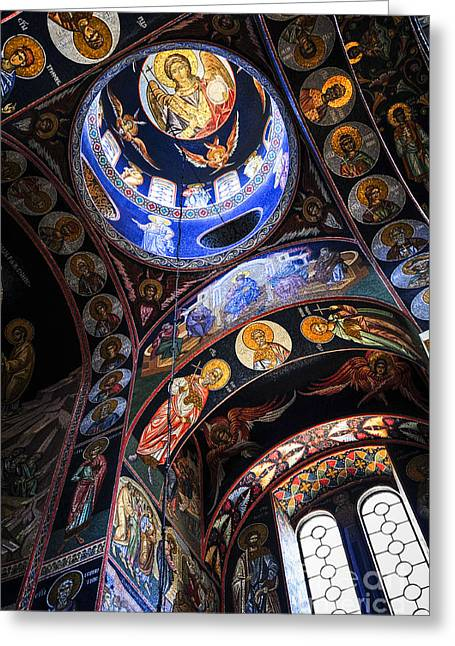 Mosaic Greeting Cards - Orthodox church interior Greeting Card by Elena Elisseeva