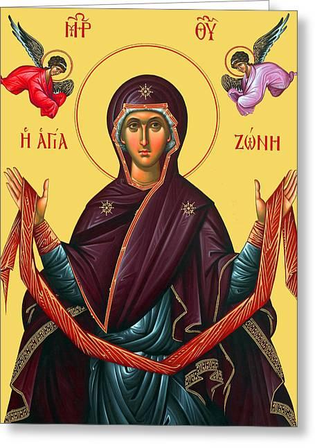 Orthodox Icon Of Mary Greeting Card by Munir Alawi