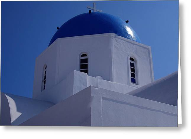 Thirasia Greeting Cards - Orthodox Santorini Church Greece Greeting Card by Colette V Hera  Guggenheim
