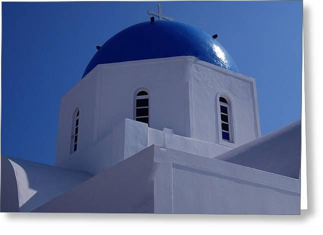 Thirasia Greeting Cards - Orthodox Santorini Church Greece Greeting Card by Colette V Hera  Guggenheim