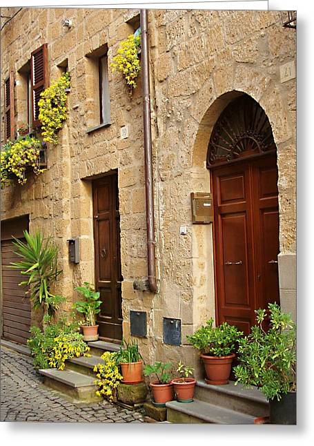 Orvieto Greeting Cards - Orvieto Homes Greeting Card by Ellen Henneke