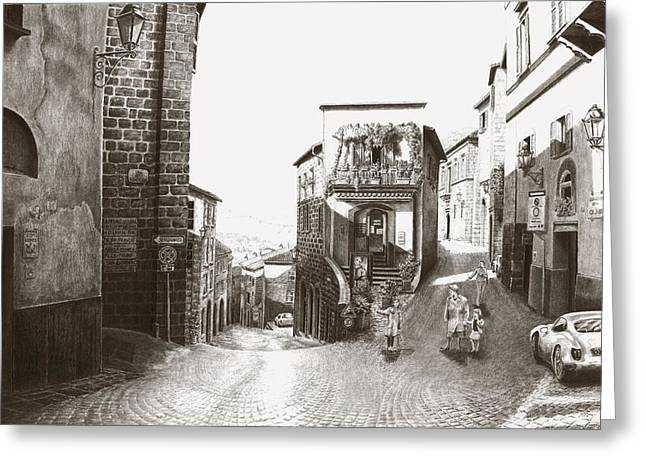 Cava Drawings Greeting Cards - Orvieto Italy Greeting Card by Norman Bean