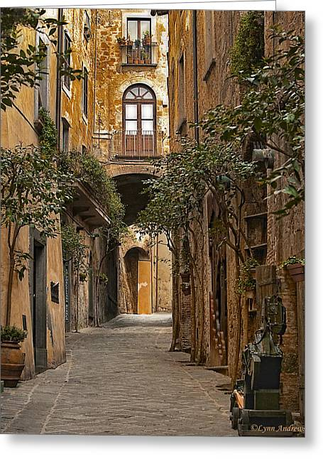 Vertical Digital Art Greeting Cards - Orvieto Side Street Greeting Card by Lynn Andrews