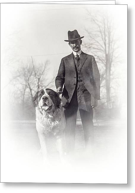 Dog Walker Greeting Cards - ORVILLE WRIGHT and SCIPIO - 1921 Greeting Card by Daniel Hagerman
