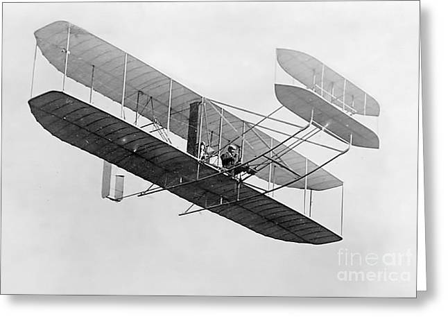 Flyer Greeting Cards - Orville Wright In Wright Flyer 1908 Greeting Card by Photo Researchers