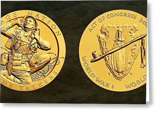 Bronze Wire Greeting Cards - Osage Nation Code Talkers Tribe Bronze Medal Art Greeting Card by Movie Poster Prints