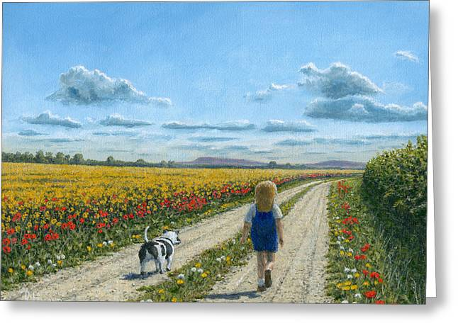 Giclée Fine Art Greeting Cards - Oscar and Me Greeting Card by Richard Harpum
