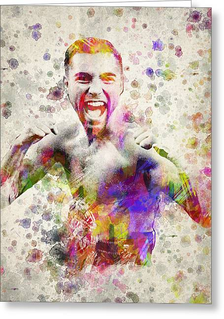 Famous Athletes Greeting Cards - Oscar De La Hoya Greeting Card by Aged Pixel