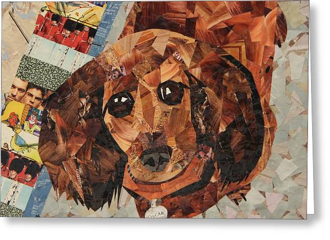 Puppies Drawings Greeting Cards - Oscar Greeting Card by Paula Dickerhoff