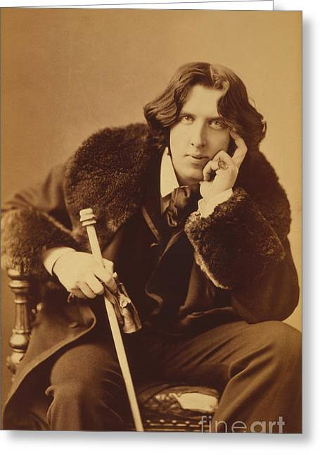 Oscar; Wilde; Irish; Writer; Poet; Author; Dandy; Photograph; Sepia; Black; White; Velvet; Smoking; Jacket; Breeches; Wearing; Stockings; Full; Length; Seated; Oscar Wilde Greeting Cards - Oscar Wilde 1882 Greeting Card by Napoleon Sarony