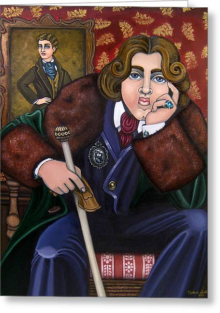 Hispanic Artists Greeting Cards - Oscar Wilde and the Picture of Dorian Gray Greeting Card by Victoria De Almeida