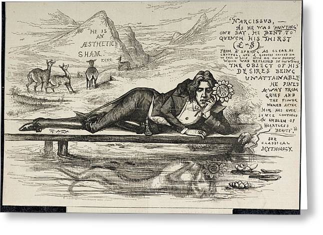 Oscar Wilde As Narcissus Greeting Card by British Library
