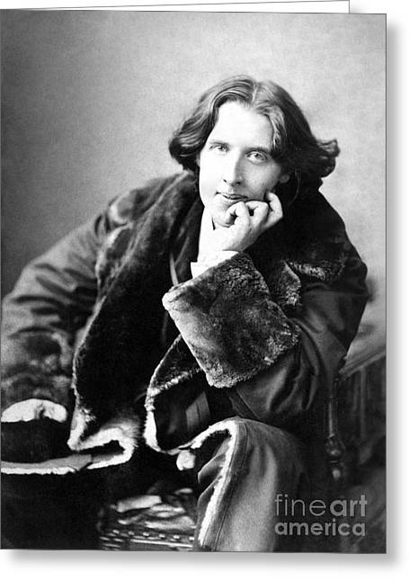 Victorian Greeting Cards - Oscar Wilde in his favourite coat 1882 Greeting Card by Napoleon Sarony