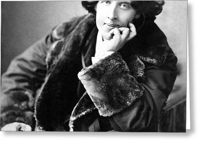 Oscar Wilde in his favourite coat 1882 Greeting Card by Napoleon Sarony