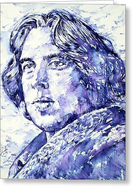 Oscar Wilde Paintings Greeting Cards - OSCAR WILDE portrait Greeting Card by Fabrizio Cassetta