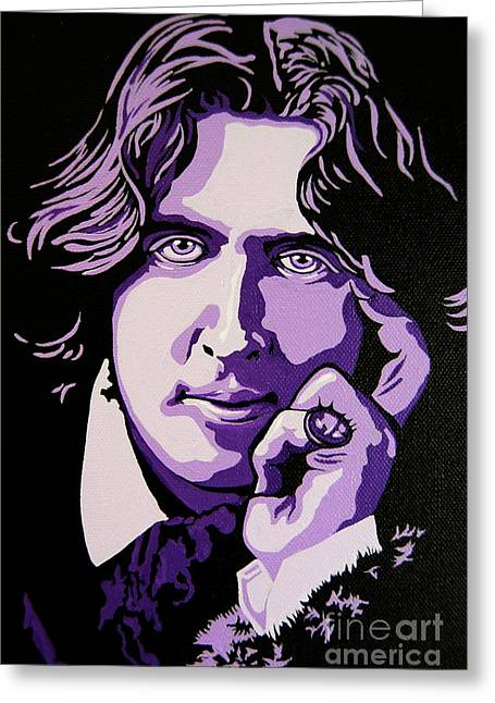 Mott Greeting Cards - Oscar Wilde Greeting Card by Rebecca Mott