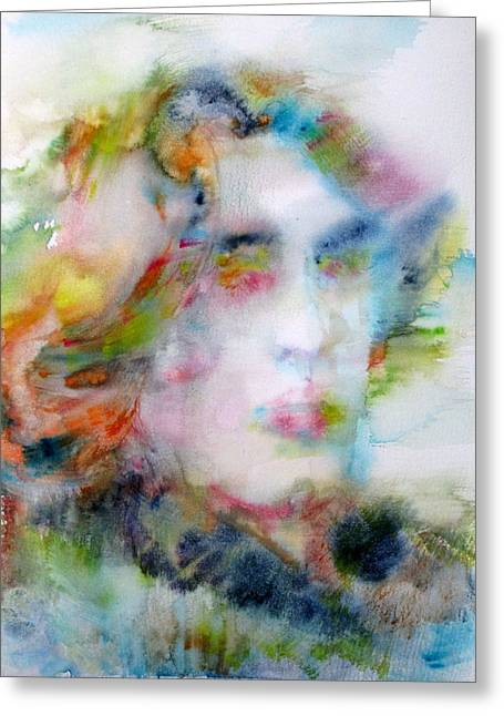 Dorian Gray Greeting Cards - OSCAR WILDE - watercolor portrait Greeting Card by Fabrizio Cassetta